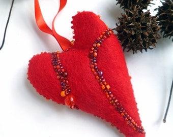 Fiber art red heart felt ornament, RED HEART, home decor, bead embroidery