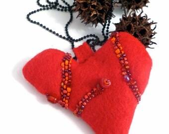 Valentine V necklace, fiber art necklace, red heart pendant, felt, bead embroidery, eco-friendly