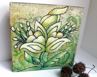 SALE Flower fantasy IX original art on cradled wood panel, marked down 50%, green, acrylic on burlap, home decor, collectible art
