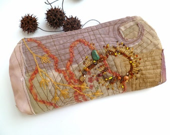 Brown fantasy pouch, fiber art bead embroidery, fiber collage, accessory, handmade, bohemian, up cycled