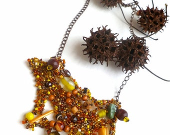 Mixed media necklace, PEBBLES III, brown beads, hand made, ooak, bohemian, Coachella, statement, eco friendly