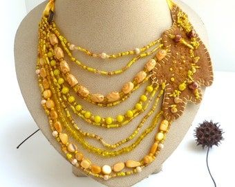 Wearable art yellow beaded necklace, QUERCUS, marked down 50%,  oak leaf, multi strand, bohemian, statement, Coachella, beads felt ribbon