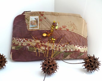 Brown fantasy II pouch, fiber art pouch featured in Sew Somerset winter 2015, fabric collage free style hand embroidery, bohemian, up cycled