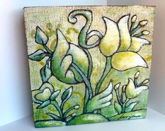 Mixed  media original floral art,  cradled wood panel, FLOWER FANTASY VII, marked down 50%, home decor, acrylic on burlap, floral