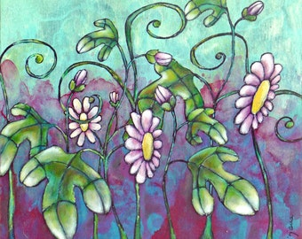 Passion flowers original acrylic painting, cradled wood panel, floral, home decor, collectible art, eco-friendly, fantasy flowers