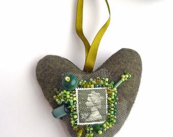 Green heart ornament, fiber art, bead embroidery, hand stitched, felt, queen Elizabeth, home decor, romantic