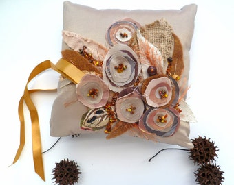 SALE Beige wedding ring pillow, fiber art marked down 50%, fabric collage, bead embroidery, shabby chic, bohemian, floral, wedding decor,