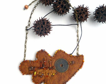 SALE Quercus VI, fiber art necklace in brown tones, marked down 50%, bead embroidery, statement necklace, hand stitched romantic, oak leaf