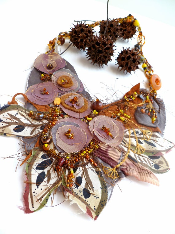 Wearable fiber art floral brown necklace, FALL BEAUTY II, bead embroidery, bohemian, statement necklace, Coachella, romantic