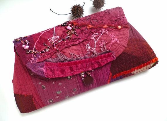 RESERVED for Lorrie Crazy burgundy II, fiber art unique boho chic purple clutch