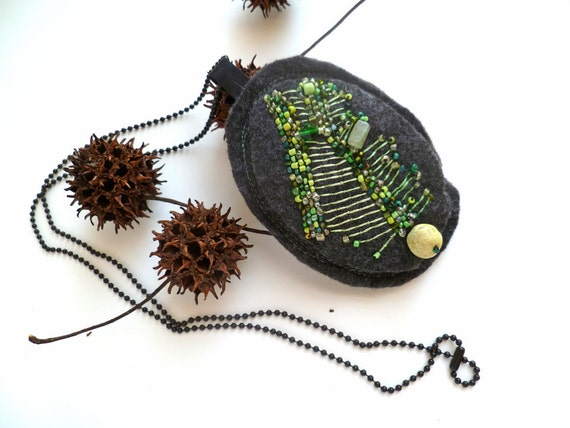 Marked down 50%, Green meadow VI, fiber art felt necklace, bead embroidery, hand stitched, romantic, statement