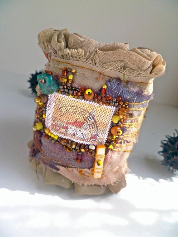 SALE Croatian church II,  fiber art ruffled cuff in brown tones, bead embroidery
