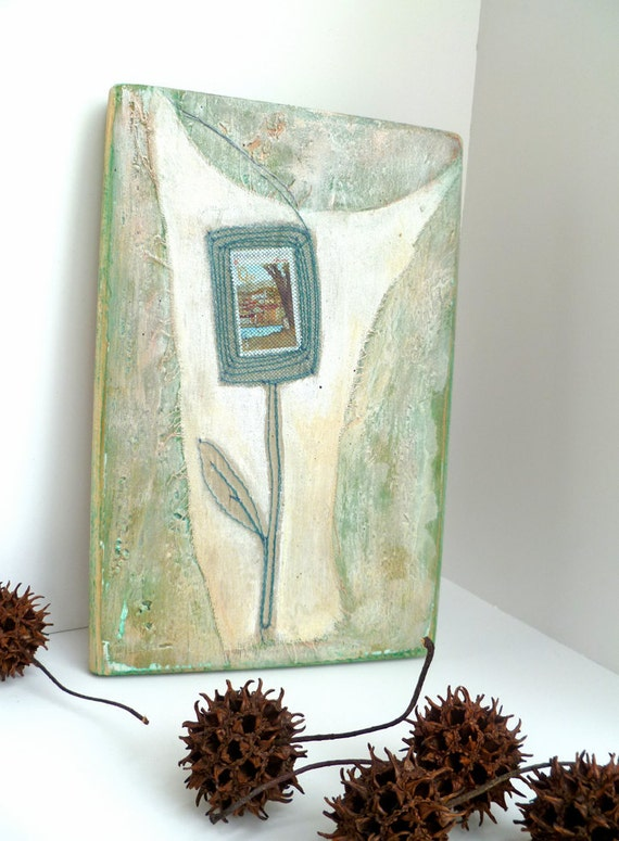 Vignette V, mixed media original unique floral artwork on recycled wood plank