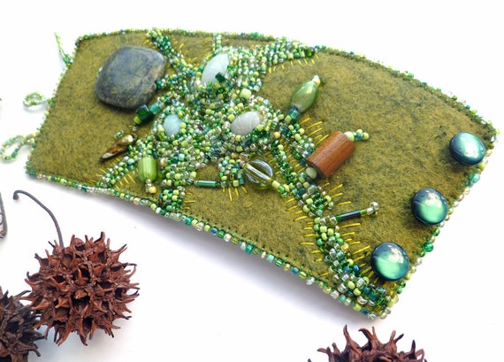 Fragments in green V cuff, fiber art cuff in green tones scarab cabochons bead embroidery hand stitched bohemian bracelet Coachella romantic