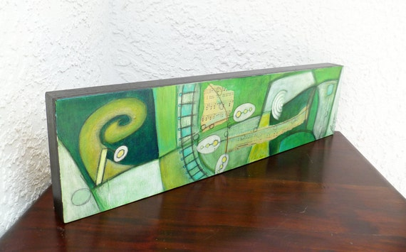 Fragments XIII original mixed media abstract artwork, cradled wood panel, acrylic, home decor, collectible, ready to hang, green
