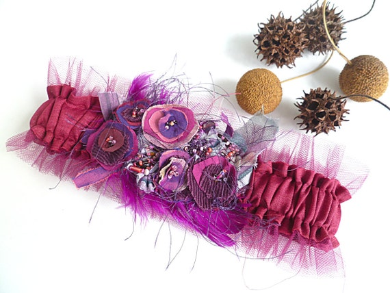 Something purple, unique wearable fiber art garter
