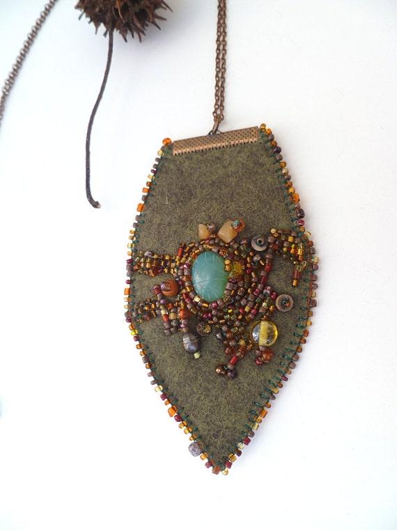 Leaf ii necklace fiber art green felt bead embroidery