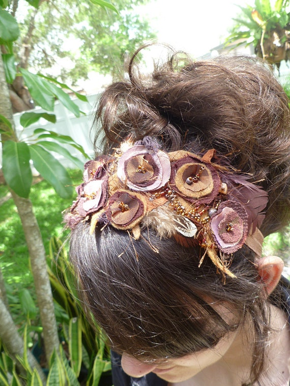 Something brown, unique wearable fiber art floral headband