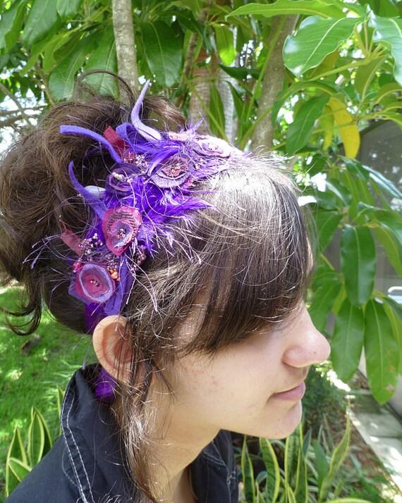 Wearable fiber art floral sash waistband headband, SOMETHING PURPLE III, fiber collage, wedding, bohemian, Coachella, hand stitched