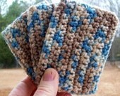 ECO TAWASHI crocheted acrylic scrubbie  eco friendly  set of three  COLOR E