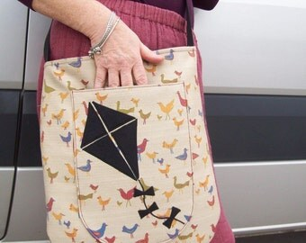 Over the shoulder FLATBAG...  A Kite Experiment...SALE...Free shipping worldwide