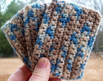 ECO TAWASHI crocheted acrylic scrubbie  eco friendly  set of three  COLOR E