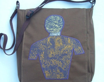 COUPON CODE SALE   Messenger Bag Canvas with ornate Machine embroidered body outline Inner strength is Inner peace