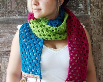 SCARF crocheted boho GYPSY look in three colors with colorful pom poms