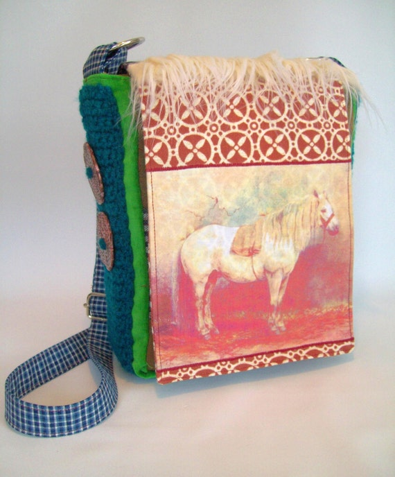 Bag Messenger cross body  with Horse applique small size