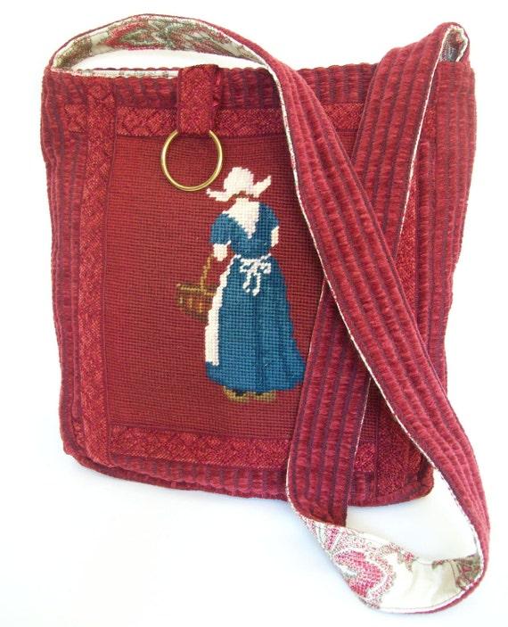 COUPON CODE SALE   Vintage Dutch needlepoint  applique  messenger bag over the shoulder