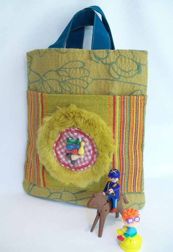 Quirky Tote Hand Bag Hand made  eclectic with Sorry pegs Pee Ka Boo