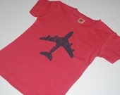 Short Sleeve Charcoal Airplane on Red Tee