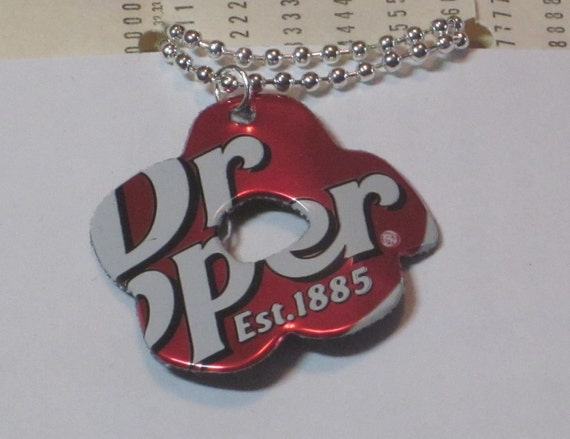 Flower Necklace Handmade from Recycled Aluminum Soda Pop Can - Dr. Pepper