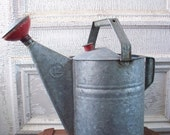 Galvanized Watering Can with Red and Brass Spouts