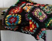 Vintage Granny Square Afghan Black