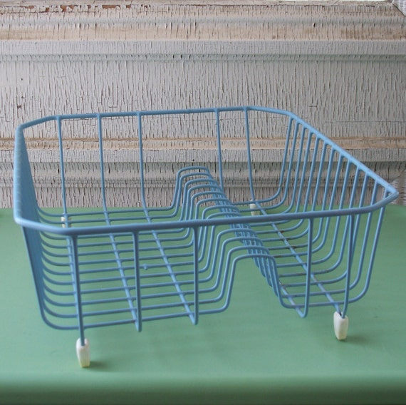 Blue Coated Wire Dish Drying Rack