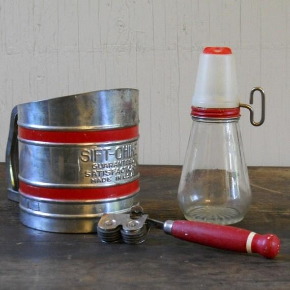 Red Kitchen Collection Sifter Grinder and Sharpner