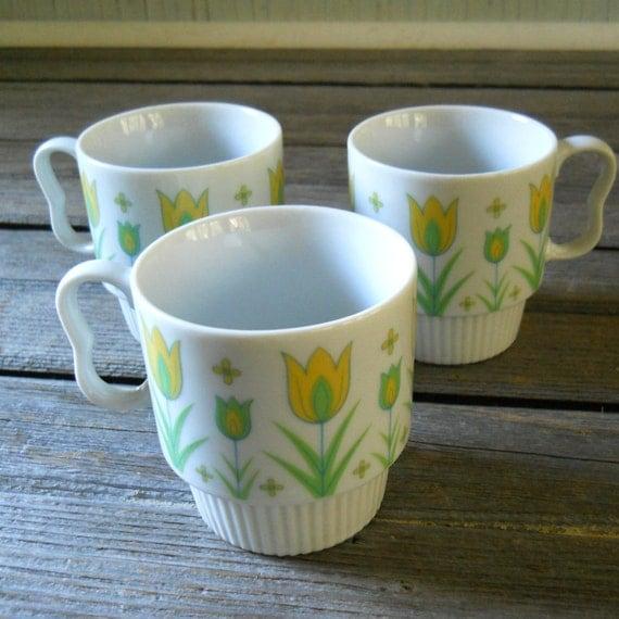 Coffee Cups 1970's Japan Yellow and Green Tulip Coffee Mugs