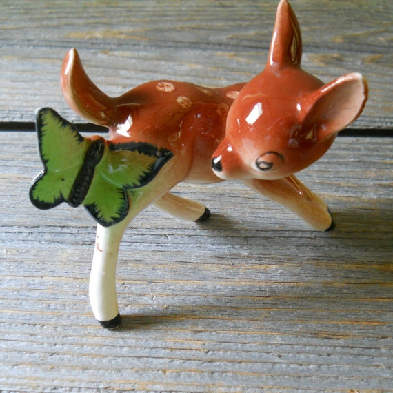 Fawn Deer Figurine Sweet Little Fawn with Butterfly  - Japan