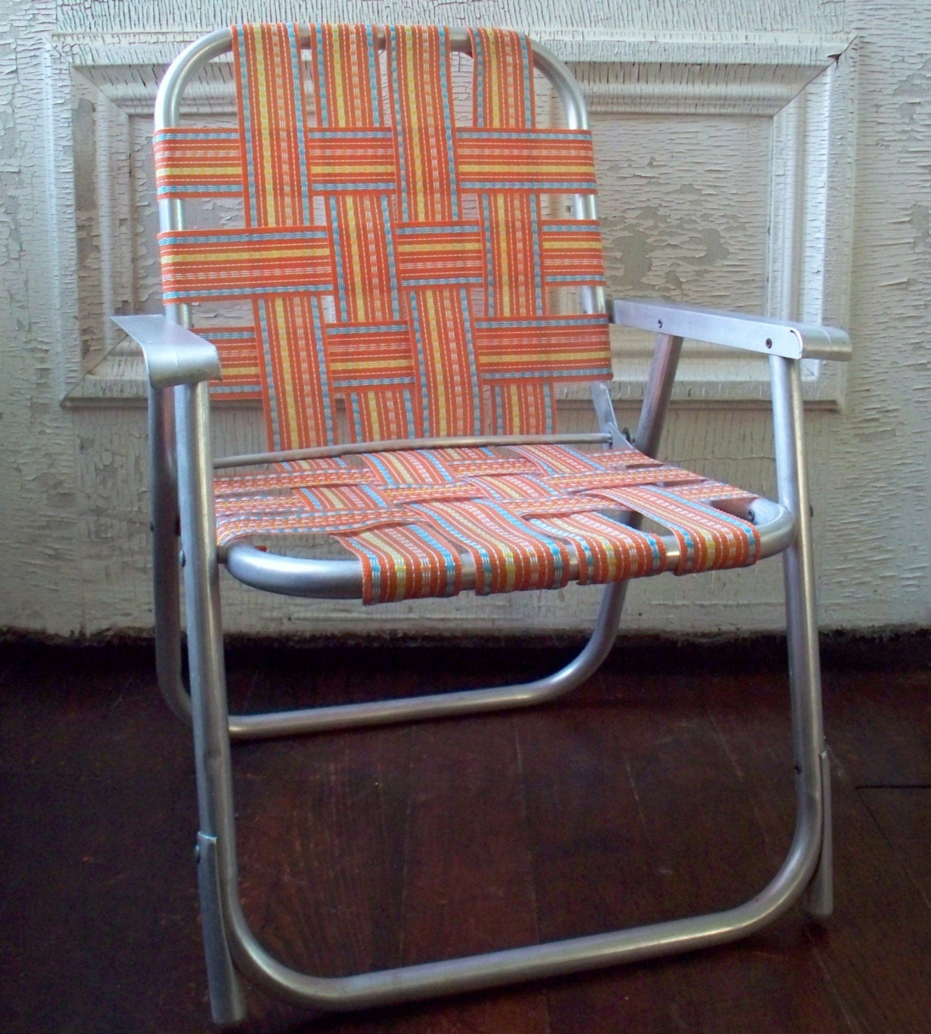 Child s Aluminum Folding Chair Orange Blue Yellow