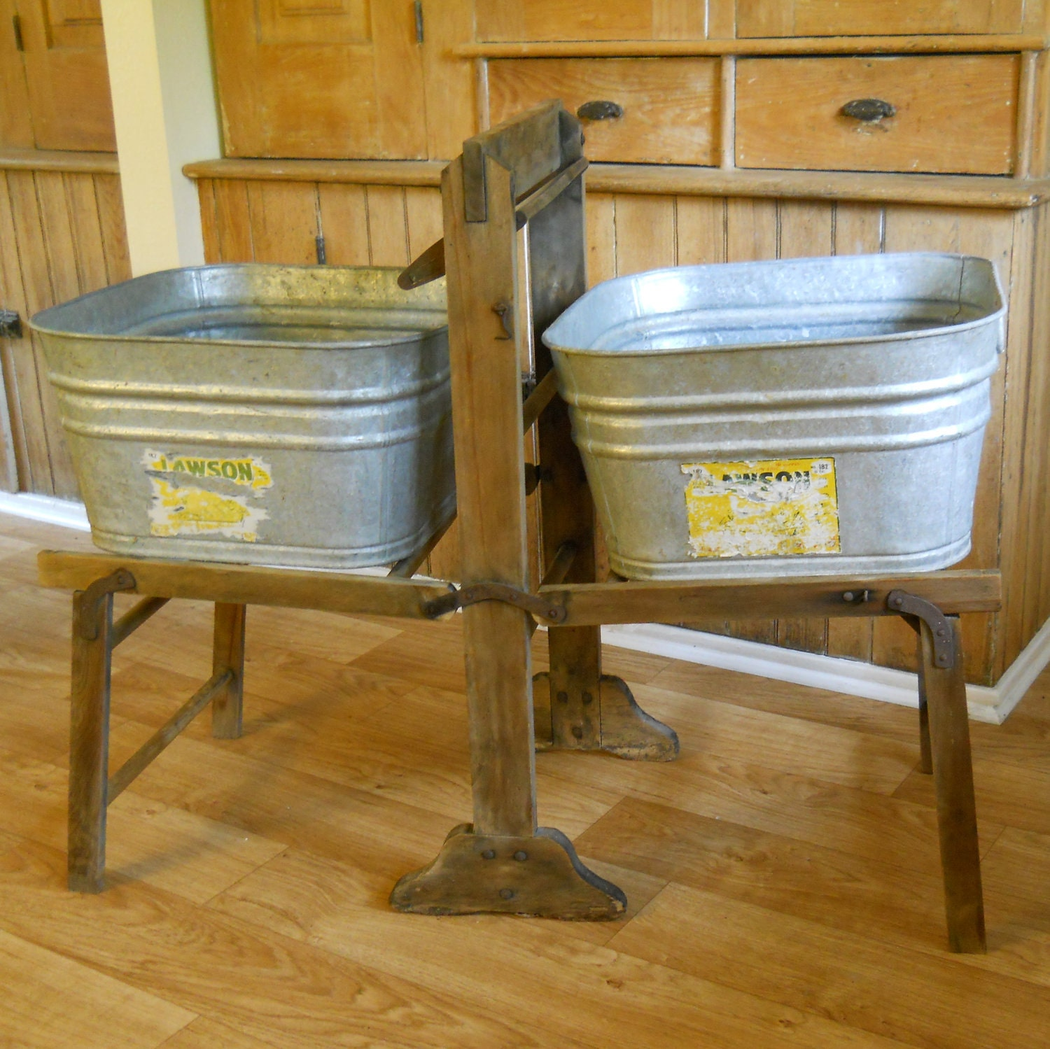 Wash Tub With Stand : Vintage Galvanized Wash Tubs with Wood Wash Stand