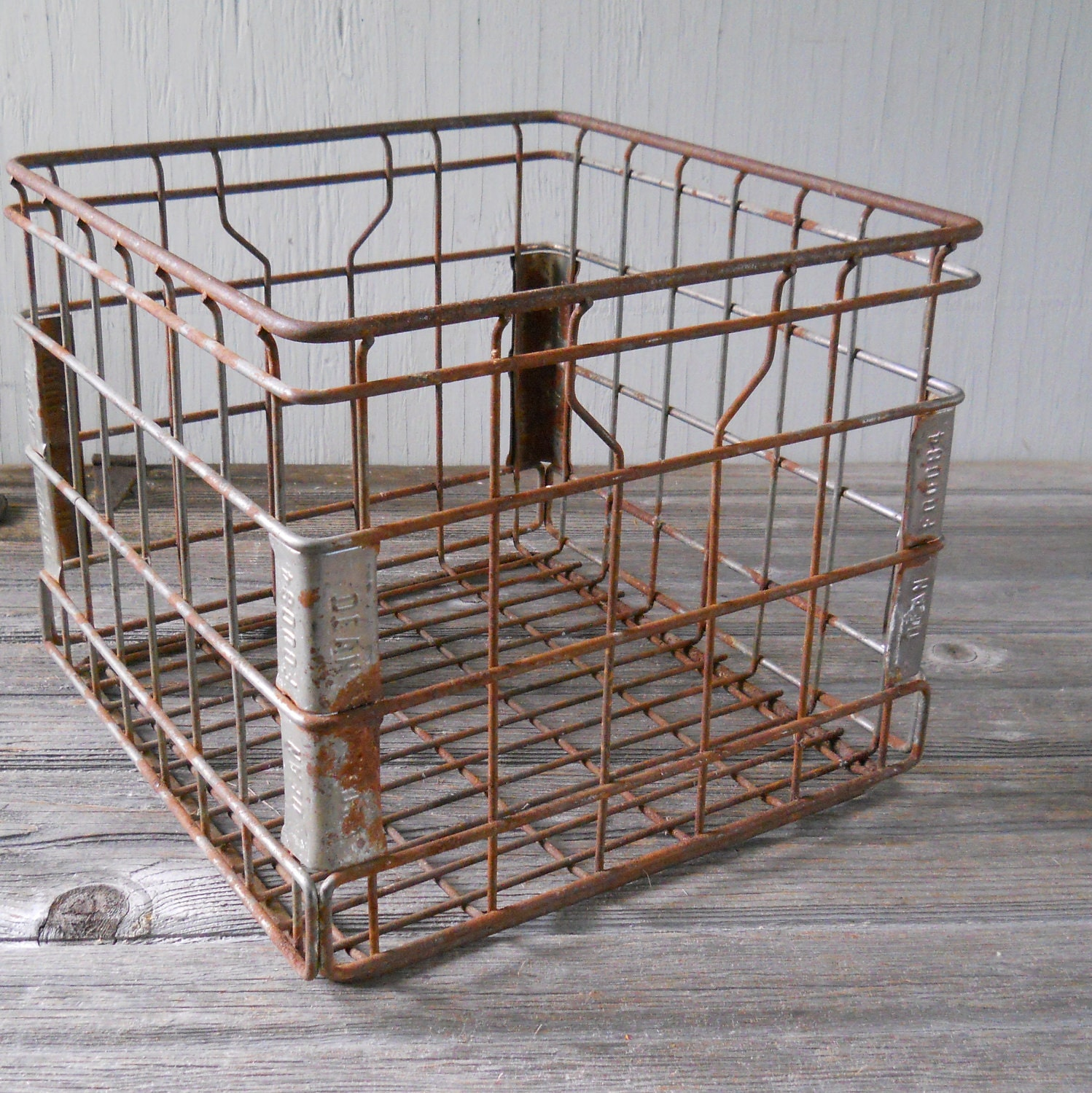 Vintage Industrial Metal Milk Crate Dean Foods