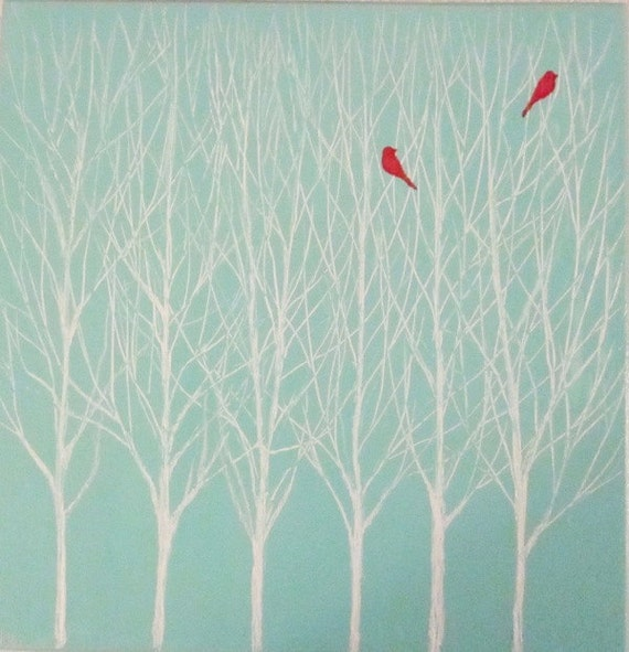 The Happy Couple - original painting of two red birds