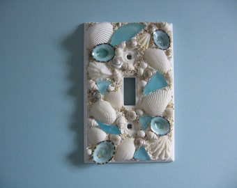 Seashell and Seaglass Encrusted Single Light Switch Plate Cover - Aqua and White