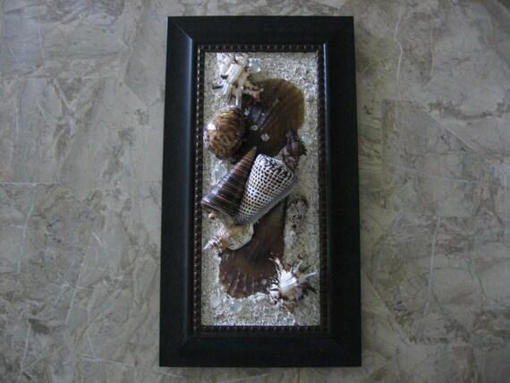 Original Seashell Framed Art - Collage - Black Brown and Sand
