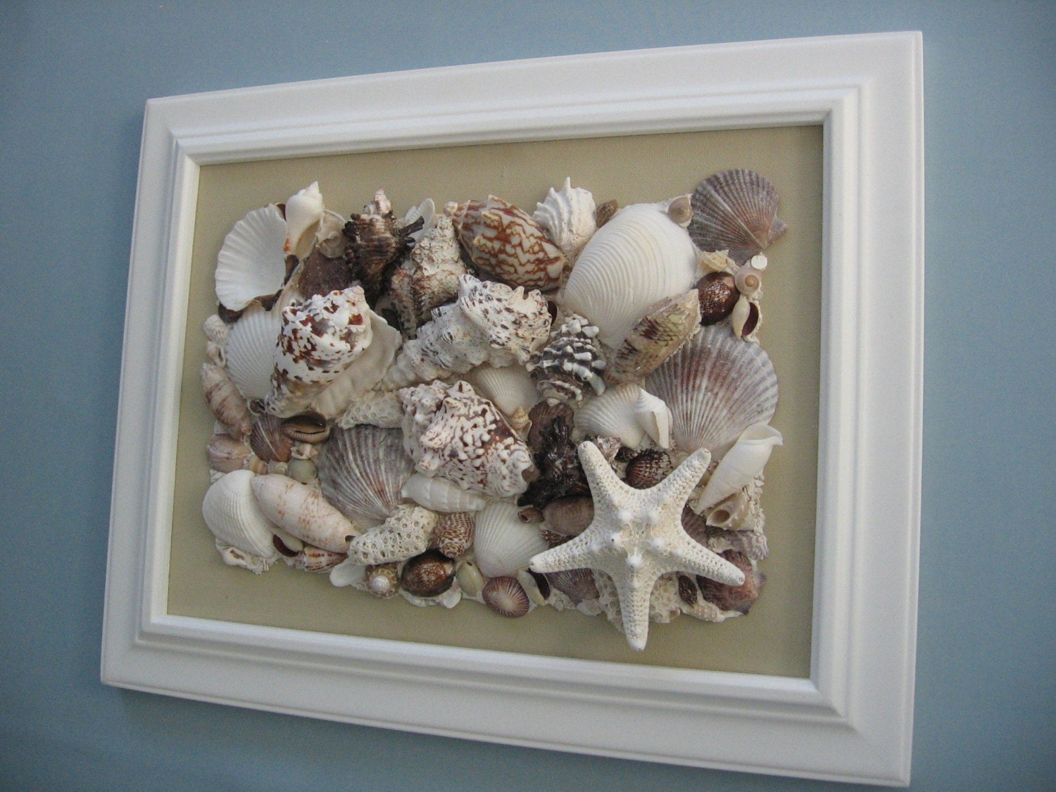 Reserved For Natalie Original Seashell Collage Tan Canvas