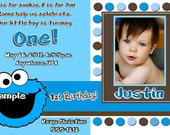 Cookie Monster Birthday Invitations, Cookie Monster Thank You Cards