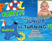 Cookie Monster POOL PARTY Birthday Invitations, DIY Digital Printable File