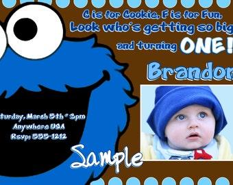 Cookie Monster Birthday Invitations
