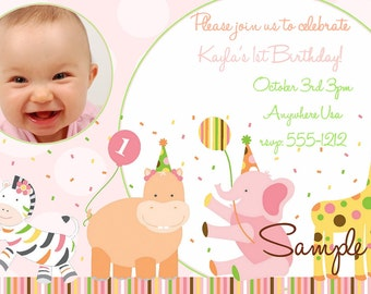 A Sweet Animals 1st Birthday Invitation, 1 Hour Printable Photo Card